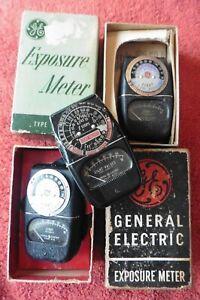 Lot of 3 Vintage General Electric Exposure meter DW-68 & 8DW58Y1 Antique meters