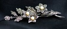 Brooch With Pearls Antique Vintage Marcasite