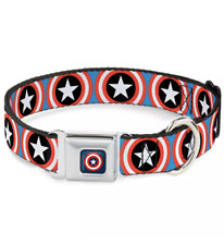 """Buckle Down CAB Captain America Shield Repeat Large 15-16"""" Dog Collar"""