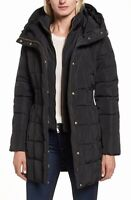 Cole Haan Women's Jacket Black Size Large L Puffer Hooded Zipped $225- #269
