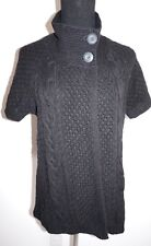 Sonoma Black Cable Knit Cardigan Sweater Sz L Short Sleeve