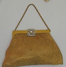 1940's Vintage Whiting & Davis Metal Mesh Purse Bag With Rhinestone Clasp -Rr776