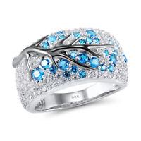 Fashion Sapphire Ruby Plum Blossom Tree 925 Silver Ring Womens Wedding Jewelry