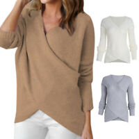 Women Long Sleeve Wrap V Neck Knitted Sweater Winter Pullover Jumper Tops Blouse