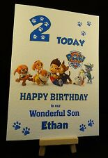 Personalised Handmade Paw Patrol Birthday Card - Son, Daughter, Brother, Sister