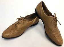 Womens GH Bass Tailored Aria II Flex Tan Leather Oxford Flats Shoes Size 6 M