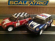 Scalextric BMW Mini Cooper S No1 & No2 / Rare No Missing Parts **NEAR MINT**