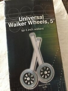 UNIVERSAL WALKER WHEELS 5 Inch With Glide Caps For 1 Inch Walkers