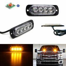 2pcs Amber 4 Led Strobe Warning Lights Flashers For Truck Trailer Pick Up Suvs