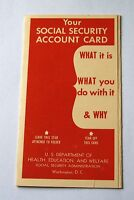 Antique Vintage Social Security Account Card Holder Folder Flier Pamphlet 1954