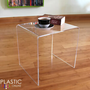 Clear Acrylic Plastic Side Table Living Room End Table Hygienic Easy Clean