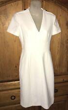 BURBERRY LONDON White Poly/Cotton/Viscose Dress Pleated Back Hem Size 6