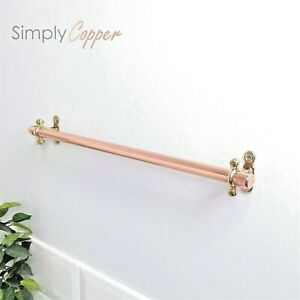 Copper Towel Rail / Towel Holder + Brass Wall Fixtures - Handmade Real Copper