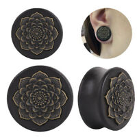 Flower*Wood Ear Plugs Flesh Tunnels Gauges Organic Double Flared Saddle-Pier RAC