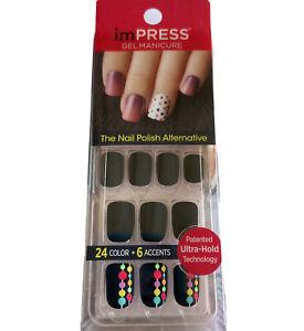 NEW Kiss Nails Impress Press Manicure Short Gel Matte Black Blue Purple Green 1