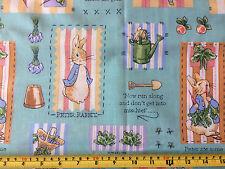 """BEATRIX POTTER Peter Rabbit Long Fabric Remnant 21""""W x 46""""L Oddment New & Crisp"""