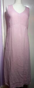 Oska Pink 100% Linen Dress Size 2 Approx 12 14 UK Long Oversized Lagenlook Arty