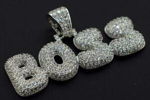 14K White Gold Plated Hip Hop Iced Flashy CZ BOSS Pendant Charm with Rope Chain