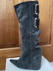 BALENCIAGA    Suede Grey Slouch Wedge Boots Size EU 38.5