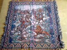 ANCIENNE BELLE TAPISSERIE ART AFRICAIN BERBERE ORIENTALE CHASSE AU LION 1930