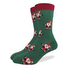 Good Luck Sock Santa Claus Crew Socks Adult Shoe Size 7-12 Christmas Red Green