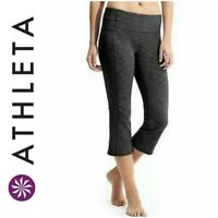 Athleta Women's Sz M Gray Space Dye Energy Power Up Capri Crop Leggings 212566
