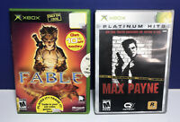 2 Game Lot for (Microsoft XBOX) Max Payne & Fable Complete with Manuals