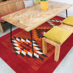 Red Traditional Rugs Aztec Tribal Living Room Rug Small Large Rugs Hall Runners