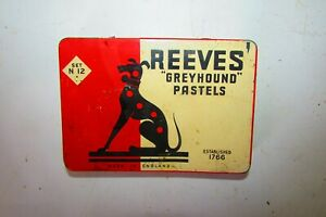 Rare Vintage Tin Box Reeves Greyhound Pastels 11945's Made In England