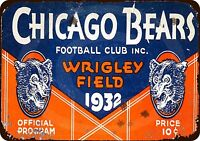 "1932 Chicago Bears Program Rustic Retro Metal Sign 8"" x 12"""