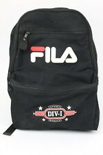 Vintage 90s Streetwear Fila Backpack Black Back Pack Big Logo Hype School Bag