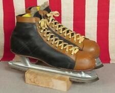 Vintage 1950s Mens Leather Two-Tone Ice Hockey Skates Acme Torpedo Blades Sz.8