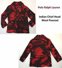$698 Polo Ralph Lauren Indian Head Chief Peacoat Leather Trim Belt Wool Jacket L