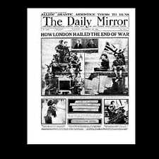 Dollshouse Miniature Newspaper - Daily Mirror 1918 Armistice