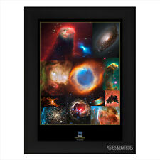Nebula Collage Space Hubble Telescope Framed Poster A4 Black Frame