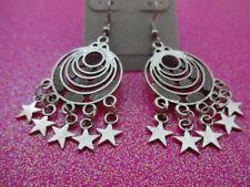 Silver Disc Star Earrings