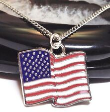 """AMERICAN FLAG_Pendant on 20"""" Chain Necklace_USA United States US Silver_69N"""