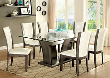 Manhattan 7PC Glass Top Dining Table And White Chairs Dining Set