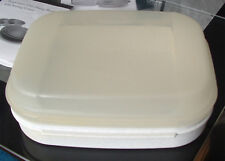 Tupperware Storz A Lot Jr. Hinged Container Sheer Clear Hinged Lid white base