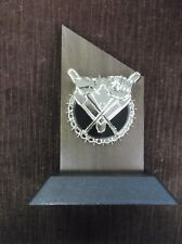 Baseball Theme solid walnut snap gold and black relief award