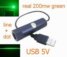 real 200mw 532nm green module,USB 5V,line+dot beam, Focusing, 200mw laser