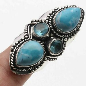 Created Larimar Silver Plated Unique Style Ring US 7.5 Gemstone Jewelry W18630