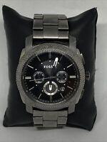 Fossil FS4735 Mens Silver Stainless Steel  Analog Black Dial Quartz Watch HK1099