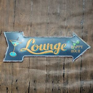 Metal Tin Sign Lounge happy hour signal Bar Pub Vintage Retro Poster Cafe ART