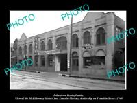 OLD LARGE HISTORIC PHOTO OF JOHNSTOWN PENNSYLVANIA, McELDOWNEY MOTOR GARAGE 1940