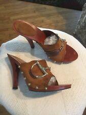 Vtg.Gucci Stilettos shoes brown suede horsebit mules stud slides wooden sz.7.5