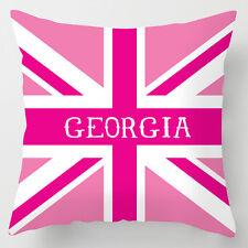 Childrens name personalised girls pink union jack decor cushion