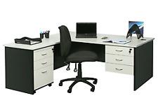 YS Design White & Ironstone Desk Package