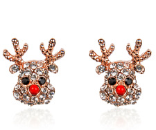 Christmas Little Deer Silver Crystal Small Stud Sparkly Earrings Xmas Gift UK