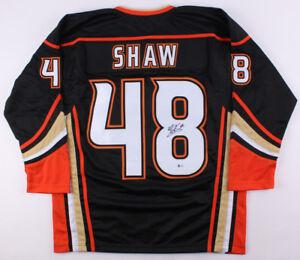 Logan Shaw Signed Ducks Jersey (Beckett COA) Anahiem Logo Front